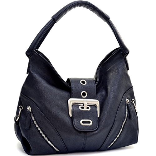 Classic Fashion Zippered Pockets Bag Hobo Purse Satchel Black Faux Leather