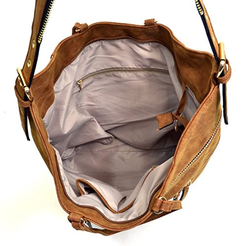 Dasein Gold-Tone Quilted Hobo Bag, Handbag with Front Zipper Decoration 2