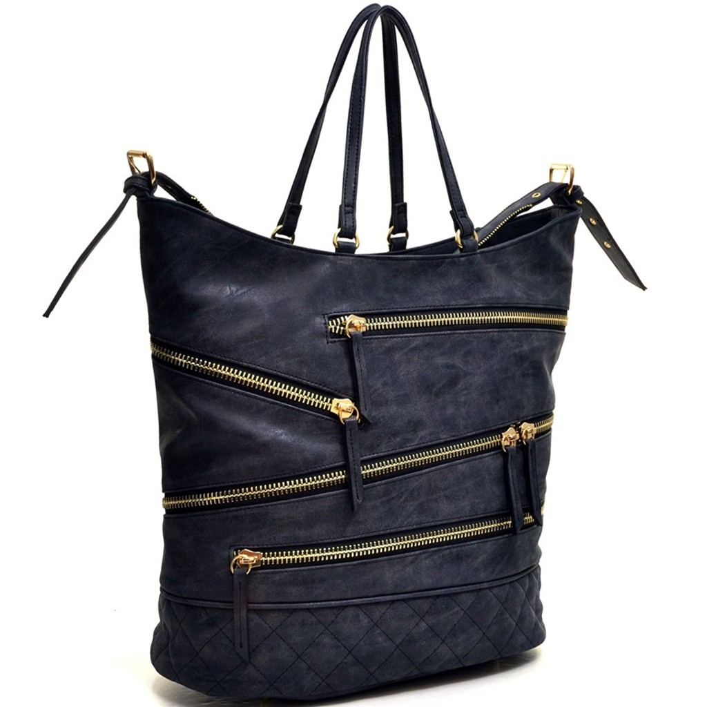 Dasein Gold-Tone Quilted Hobo Bag, Handbag with Front Zipper Decoration 4