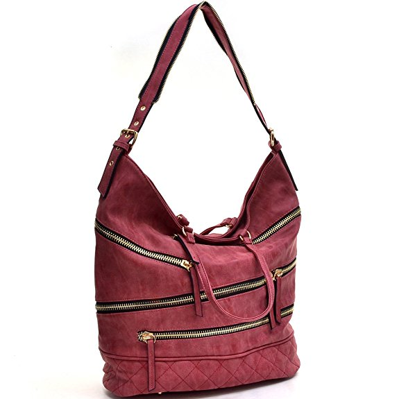 Dasein Gold-Tone Quilted Hobo Bag, Handbag with Front Zipper Decoration