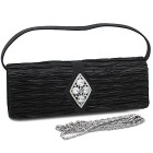 Evening Bag Clutch Purse With Rhinestone Diamond Brooch Black
