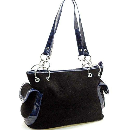Faux Suede Croco Trim Shoulder Hand Bag Purse Side Pockets Black