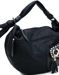 Oversized Hobo Knotted Strap Rhinestone Studded Accents Black