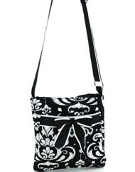 Quilted Damask Print Messenger Crossbody Bag Purse Ribbon Accents Black Trim