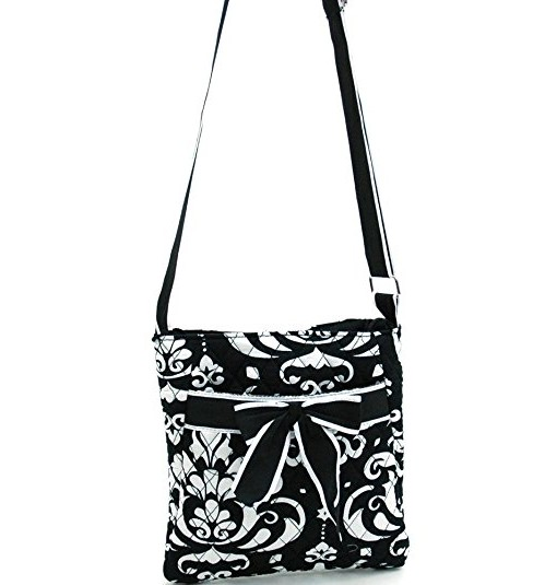 Quilted Damask Print Messenger Crossbody Bag Purse Ribbon Accents Black Trim