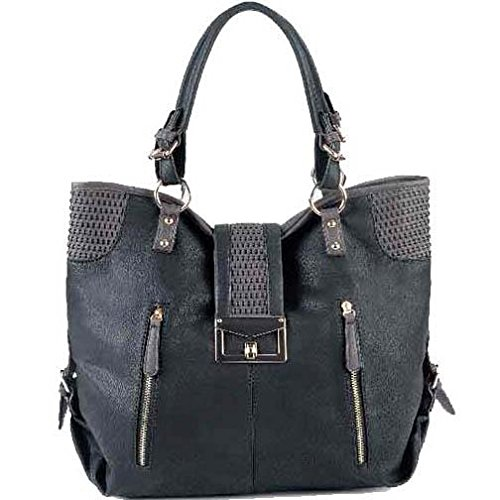 Soft Large Fashion Tote Purse Bag With Woven Accent - Black