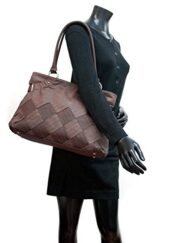 Women Inspired 2 Tone Fashion Tote Purse Hand Bag Brown 3