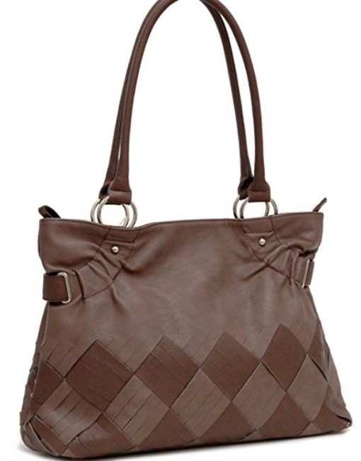 Women Inspired 2 Tone Fashion Tote Purse Hand Bag Brown