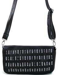 Womens Fashion Baguette With Rhinestone Design & Long Bonus Strap Black